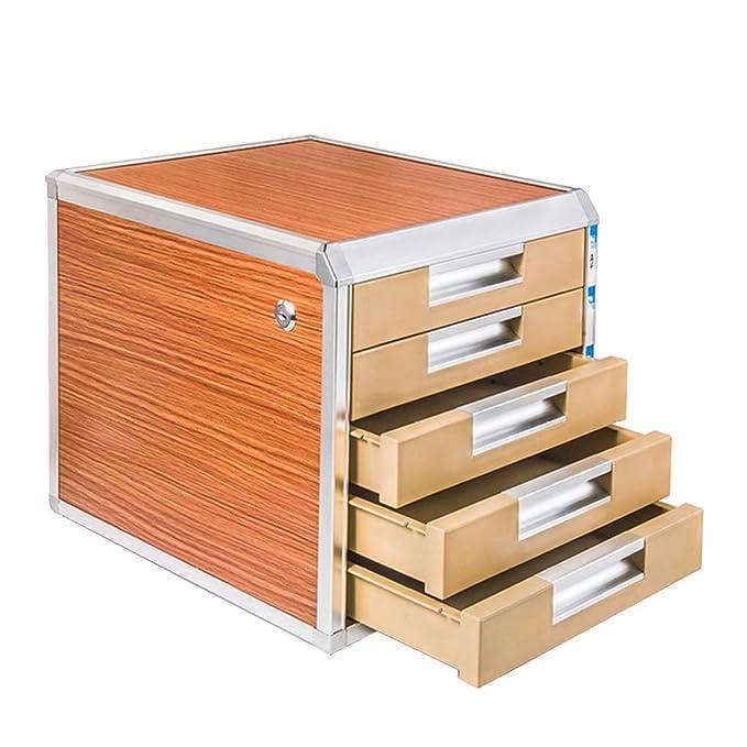 Armario archivador de Aluminio con Cierre de aleación, cajón A4 de Papel, Armario de Datos Corto, archivador de Escritorio, Armario de Almacenamiento: ...