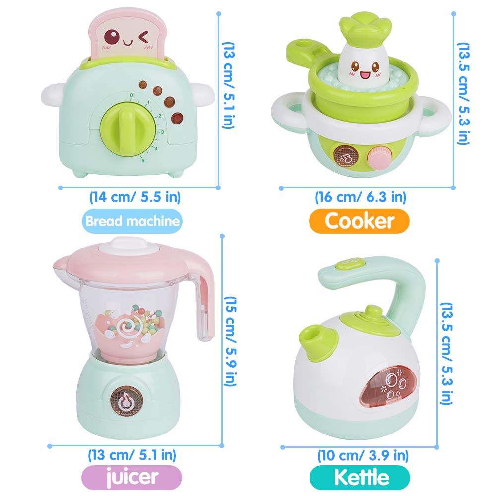 Gizmovine Play Kitchen Accessories, 4PCs Mini Simulation Musical Kitchen Toys for Kids Cooking Set Pretend Play Home Kitchen Appliances for Girls Kids Toddler by Gizmovine (Image #7)