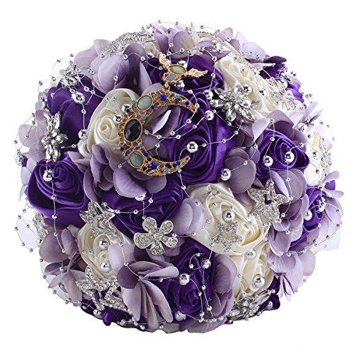 Wildflower Bouquet Wedding (Zebratown 11'' Artificial Rose Romantic Galaxy Wedding Bouquet Wedding Flowers Crystal Pearls Bouquets Bridal Bouquets (Purple))