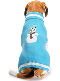 SHUNLIU Ropa para Perro Jersey de Mascota de Navidad Mascota Suéter Azul Muñeco de Nieve