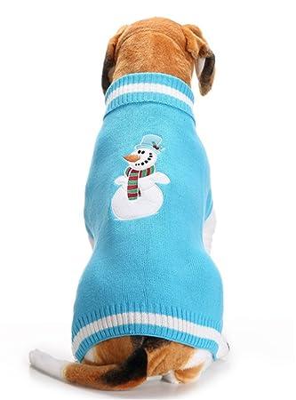 SHUNLIU Ropa para Perro Jersey de Mascota de Navidad Mascota Suéter Azul Muñeco de Nieve: Amazon.es: Productos para mascotas