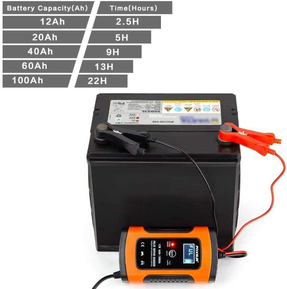 SUNWAN Chargeur rapide intelligent chargeur de moto intelligent avec /écran LCD 6A 12V 4-100Ah chargeur de batterie /à prise prise UE