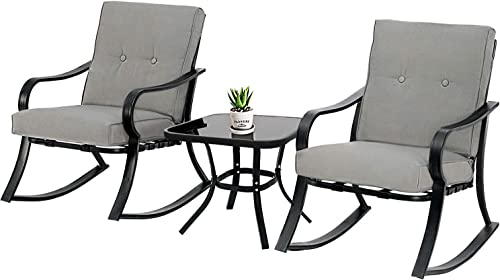 SOLAURA 3-Piece Outdoor Rocking Chairs Bistro Set