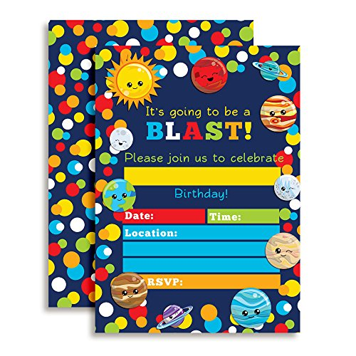 Outer Space Happy Planets Birthday Party Invitations, Ten