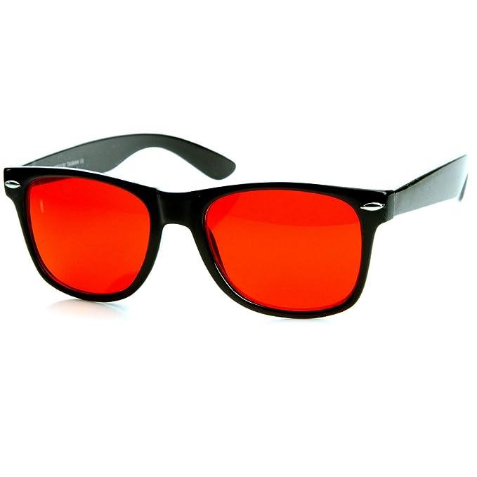Amazon.com: Gafas de sol clásicas con borde de cuerno (rojo ...