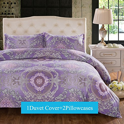 Ttmall 3-pieces Full Queen Size Microfiber Duvet Cover Set, Purple Lavender Boho Bohemia Exotic Patterns Floral Design,Without Comforter (Full/Queen, (1Duvet Cover+2Pillowcases)#02) (Purple Duvet Cover Set)