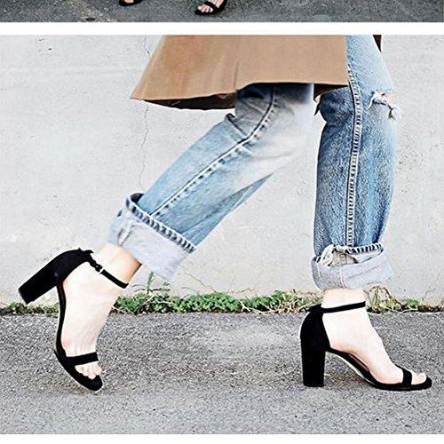 Toe Heels Fashion Women Strap Black Open Sandals Block Zanpa x7TwqBq
