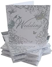 Pack Of 36 Simon Elvin Wedding Day Invitations - Silver Scroll Design - DP214N