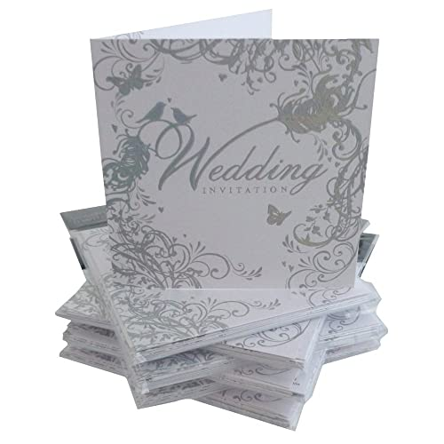 Wedding invitation cards amazon pack of 36 simon elvin wedding day invitations silver scroll design dp214n filmwisefo