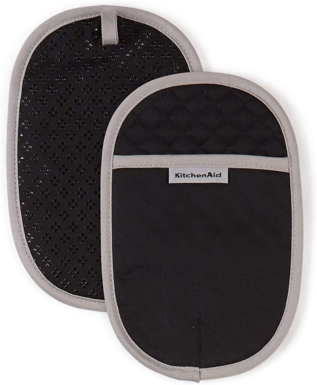 KitchenAid Asteroid Cotton Pot Holders with Silicone Grip, Set of 2, Black