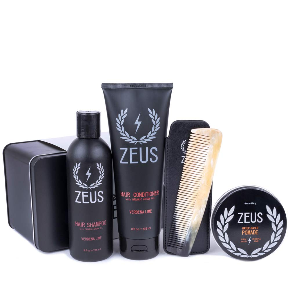Zeus Hair Care Set for Men - Hair Shampoo, Hair Conditioner, Natural Horn Comb In Leather Sheath, pomade! (Firm Hold Pomade)