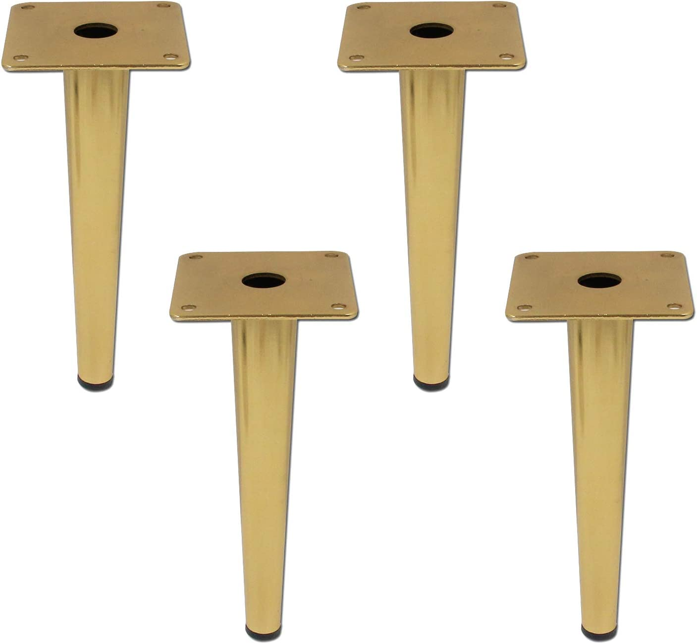 Geesatis 4 pcs Round Tall Sleek Tapered Furniture Legs Cabinet Cupboard Table Chair Table Metal Feet, with Mounting Screws, Height 20cm / 8inch, Gold