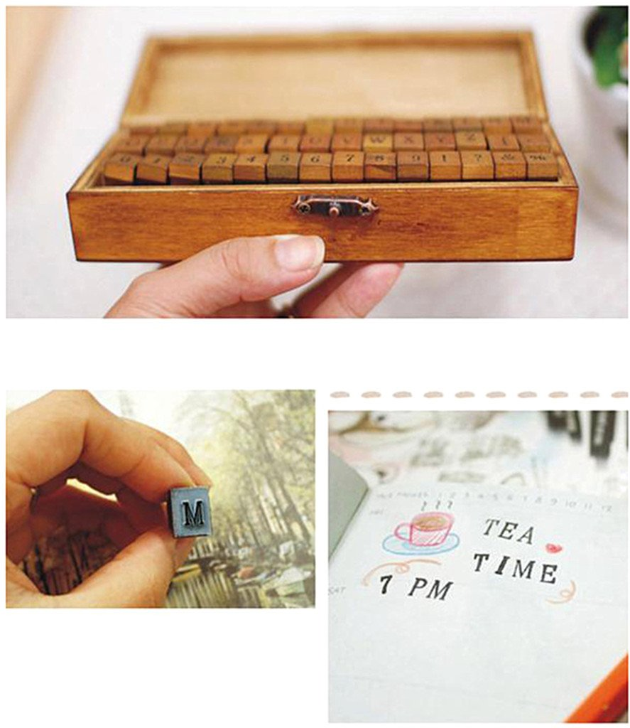 6pcs with Different Words Blessing Words Stamps Set,Vintage Wooden Rubber Handwriting Wishes Sentiment Signet Kit for DIY Scrapbooking Album Card Making