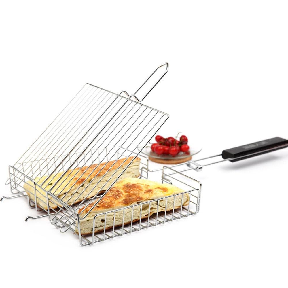 Quadratische Edelstahl Draht Maschen Grill Gitter Stereo Fisch BBQ Grill Griffwerkzeuge BBQ West