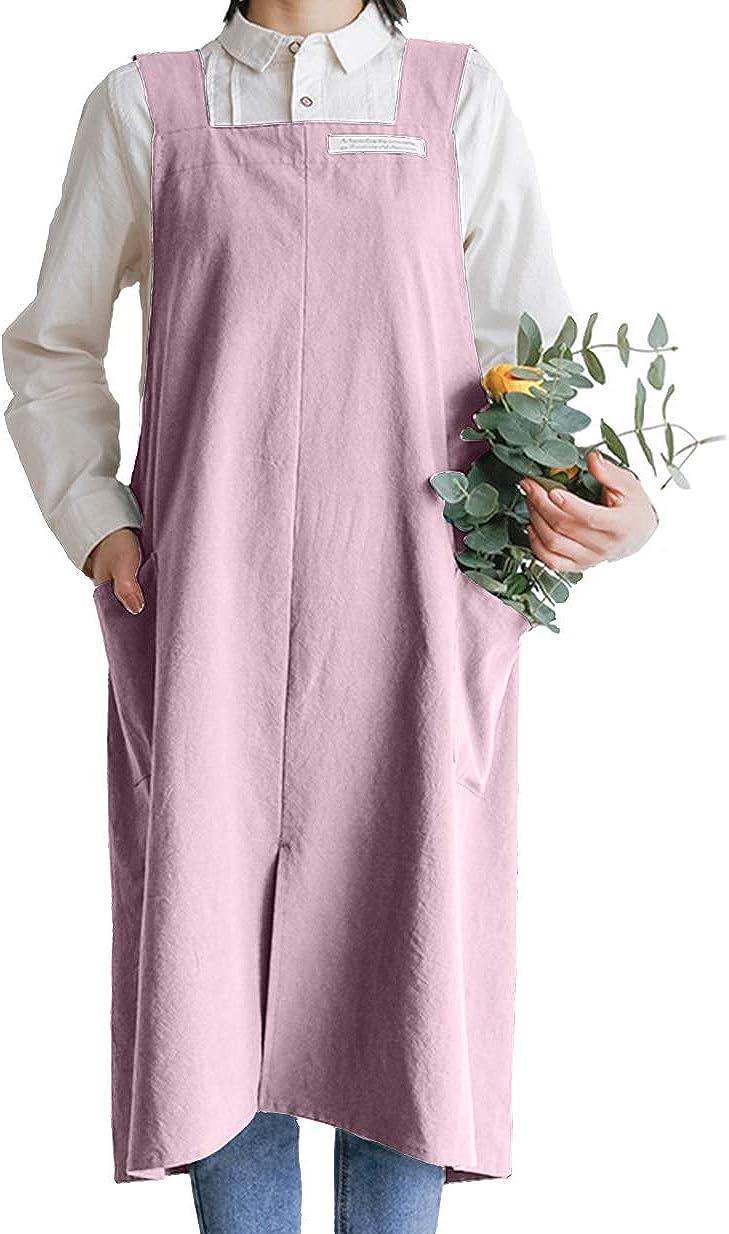 Vintage Square Apron Cook Garden Works Cross Back Cotton/Linen Pinafore Dress