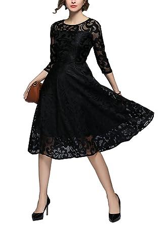 Lacus-UK 2018 Womens Vintage Sexy Lace Dress Slim Round Neck 3/4 Sleeve