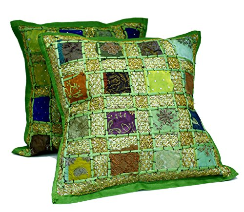 (2 Green Embroidery Sequin Patchwork Indian Sari Throw Pillow Cushion Covers)