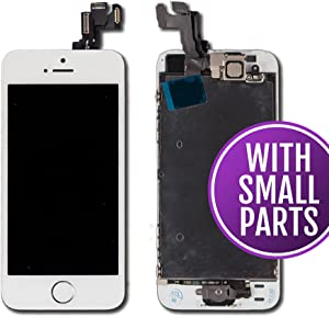 Group Vertical Replacement Screen Touch Digitizer LCD Assembly+Home Button Compatible with Apple iPhone 5S SE (White/Silver) (A+ Performance) (A1453 A1457 A1518 A1528 A1530 A1533 A1723 A1662 A1724)