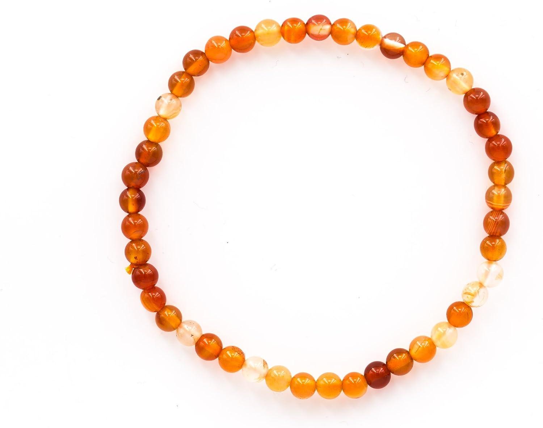 Taddart Minerals – Pulsera de Color Naranja y Blanco de Piedra Preciosa Natural cornalina con Bolas de 4 mm en Hilo elástico de Nailon – Hecha a Mano.