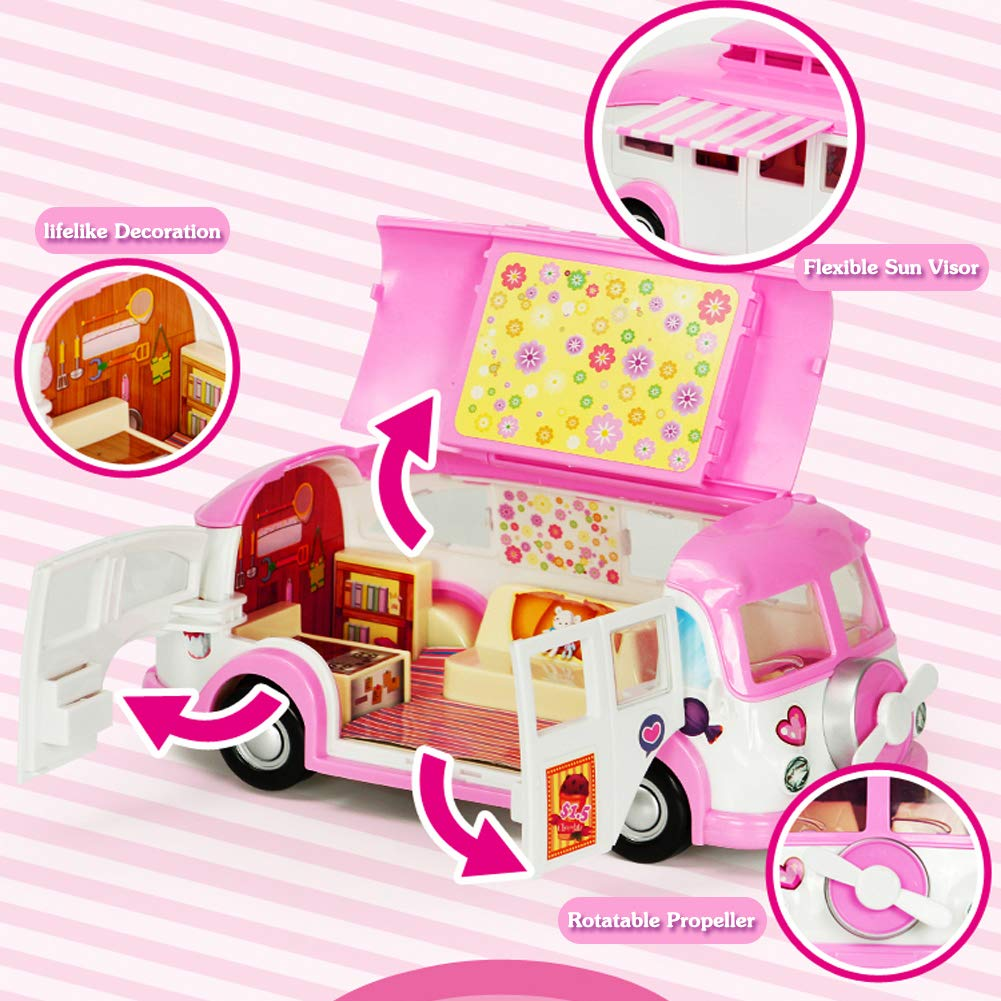 Camper Car RV Set Picnic Ice Cream Car Caravan Trailer Creative Toys Building Kit for Boys and Girls Gift Pink Pink stars