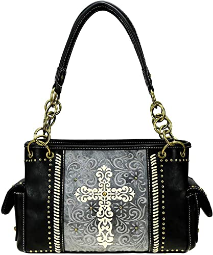 Concealed Carry Satchel Handbag Montana West Concho Collection Floral Tooled