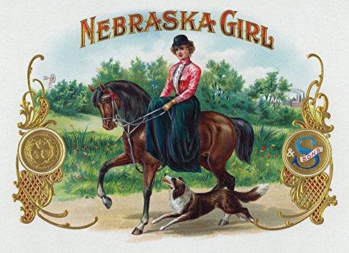 Nebraska Girl Brand Cigar Box Label (12x18 Art Print, Wall Decor Travel - Cigar Box Girl