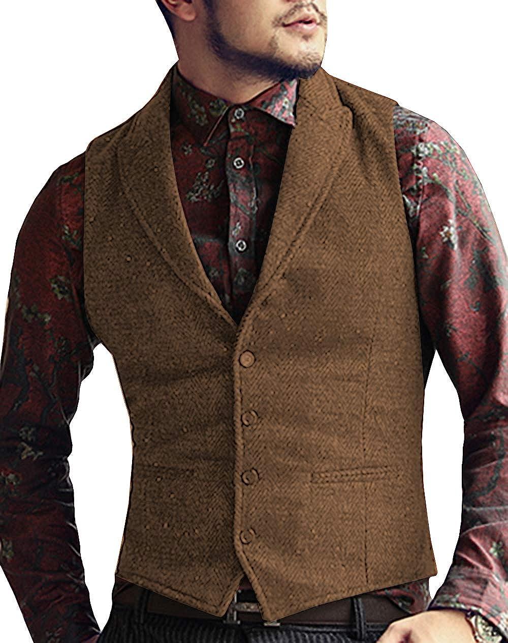 Herren Tweed 3 St/ück Anzug Retro intelligente Tailored Fit mit Fischgr/ätmuster Jacke Weste Hosen