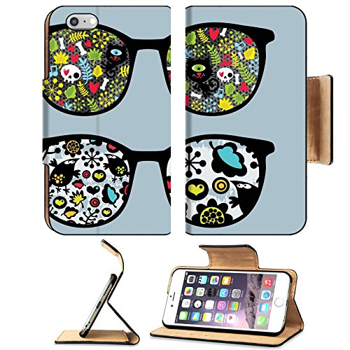 MSD Premium Apple iPhone 6 Plus iPhone 6S Plus Flip Pu Leather Wallet Case IMAGE ID: 13107796 Retro sunglasses with cats and birds reflection in - Style Cyclops Sunglasses