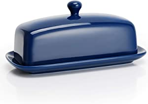 Sweese 307.103 Porcelain Butter Dish with Lid, Perfect for East West Coast Butter, Navy