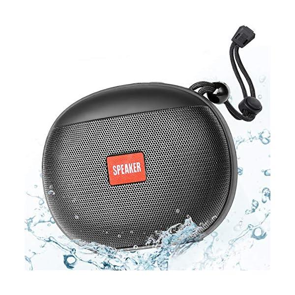 Enceinte Bluetooth Portable, Enceinte Bluetooth Waterproof IPX6, TWS HD Audio Haut Parleur Bluetooth 5.0 Pilote Double avec Son 360°, 12 Heures Autonomie Mains Libres Téléphone Support FM, USB, TF 1