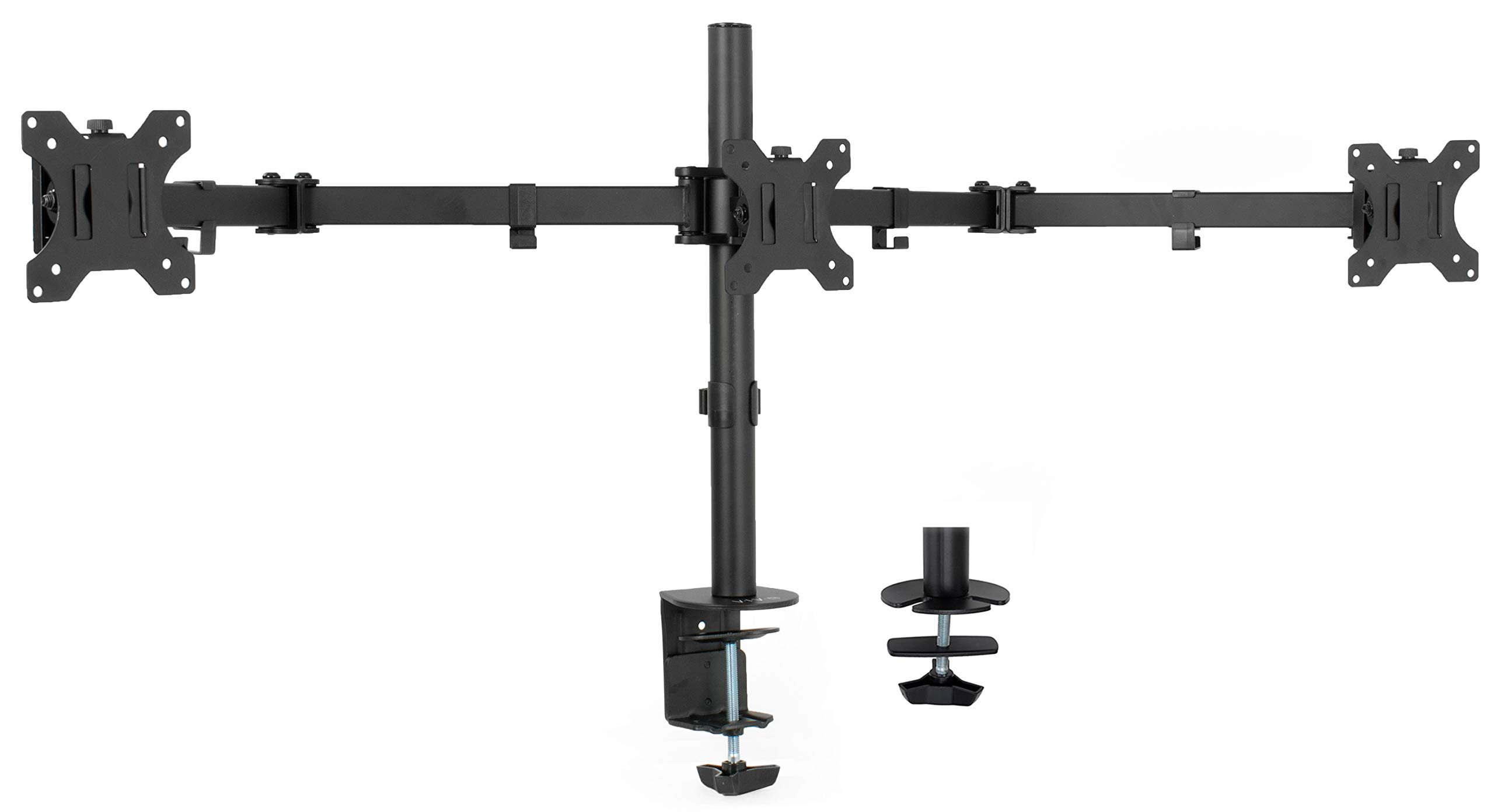 VIVO Black Triple Monitor Adjustable Desk Mount, Articulating Tri Stand Holds 3 Screens up to 24 inches (STAND-V003Y) by VIVO