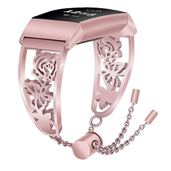 VIGOSS Metal Band Compatible with Fitbit Charge 3/3 SE Bands Rose Gold  Women Luxury Stainless Steel Charge3 Strap Floral Hollow Bangle Bracelet