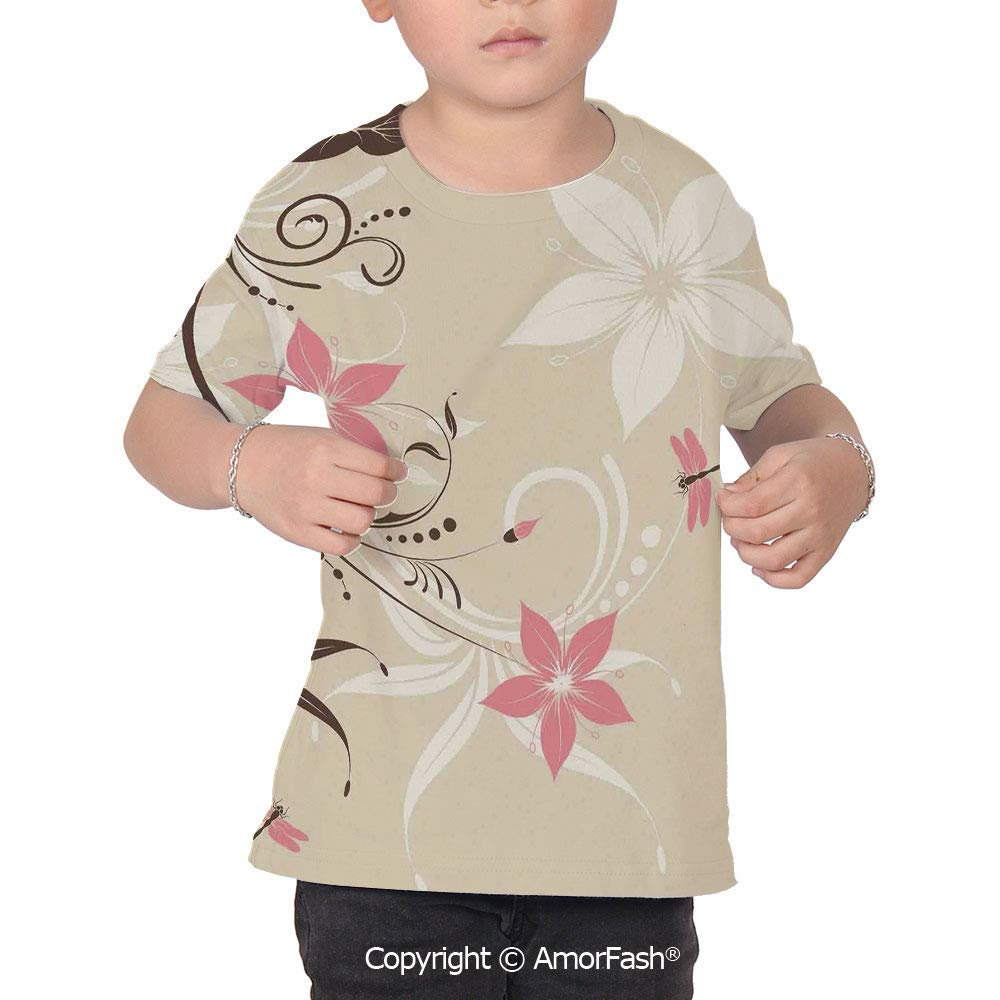 Dragonfly Colorful Boys and Girls Soft Short Sleeve T-Shirt,Floral Background wi