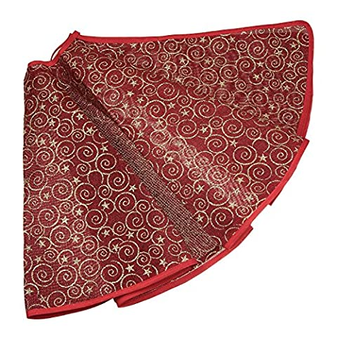 Red and Gold Burlap Christmas Tree Skirt by Clever Creations   Gold Spirals and Stars   Traditional Theme Festive Holiday Design   Contain Needle and Sap Mess on Floor   40