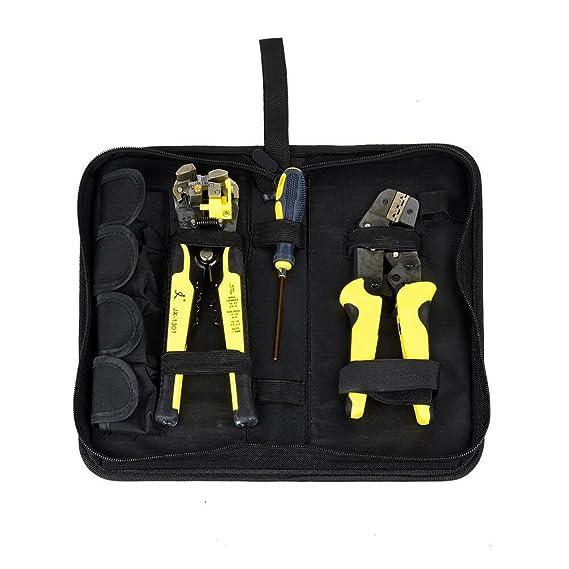 Fontic Set de alicates pelacables profesionales multifunción: Alicates pelacables + Decapante de cables + Destornillador S2 + tornillos + terminales extra + ...