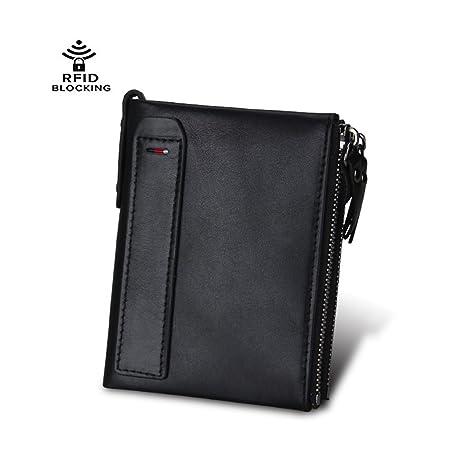 Men Wallet RFID Genuine Leather Double Zipper Pocket Bifold Anti-theft Cash Cards Coins Holder