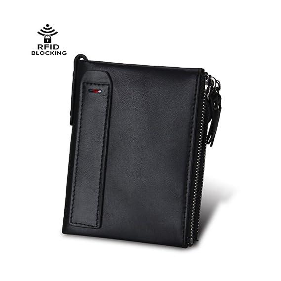 Men Wallet RFID Genuine Leather Double Zipper Pocket Bifold ...