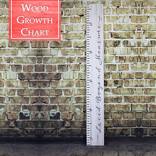 Back40Life | Premium Series - (Loved Beyond Measure) Wooden Growth Chart Height Ruler (Weathered -