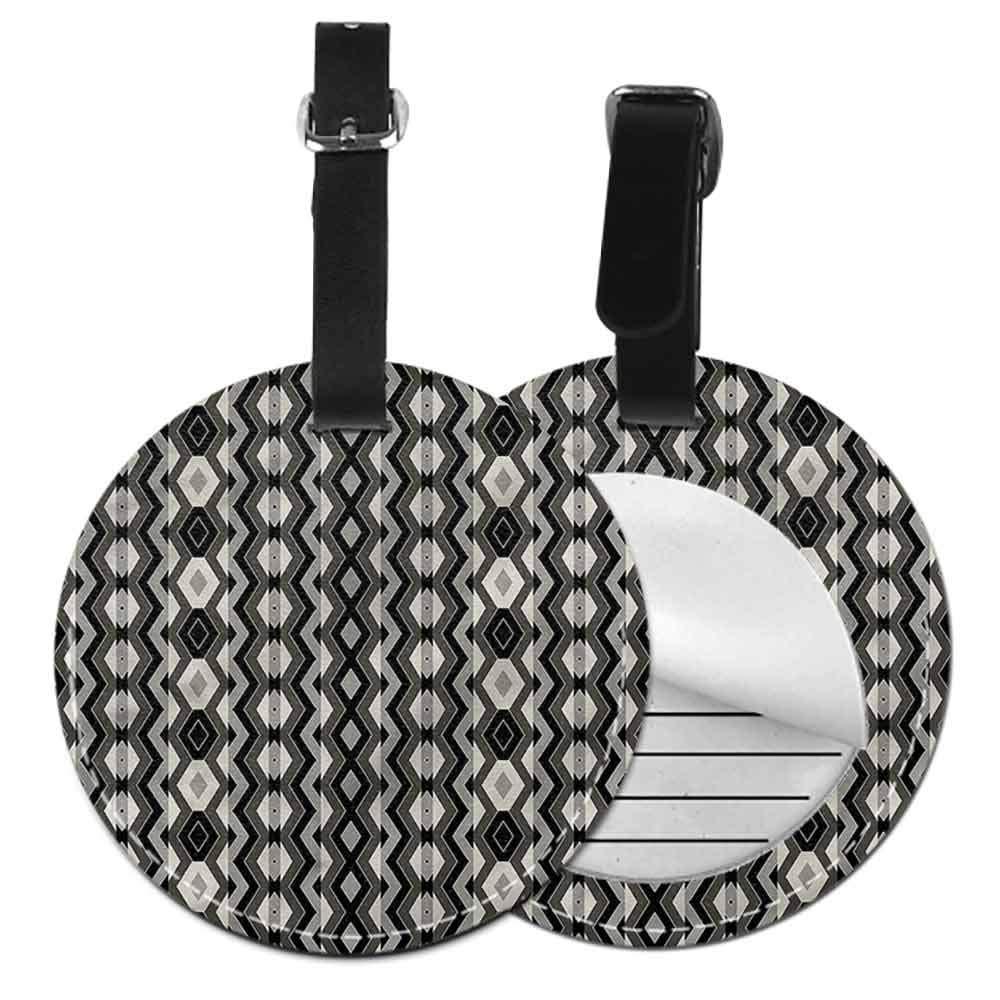 Round Leather Luggage Geometric,Chevron Zigzags Boho Suitcase Tag