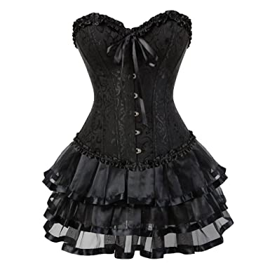 3c241b9483e Corset Dresses for Women Plus Size Floral Bustier Tutu Skirt Victorian  Vintage Style Costume Party  Amazon.co.uk  Clothing