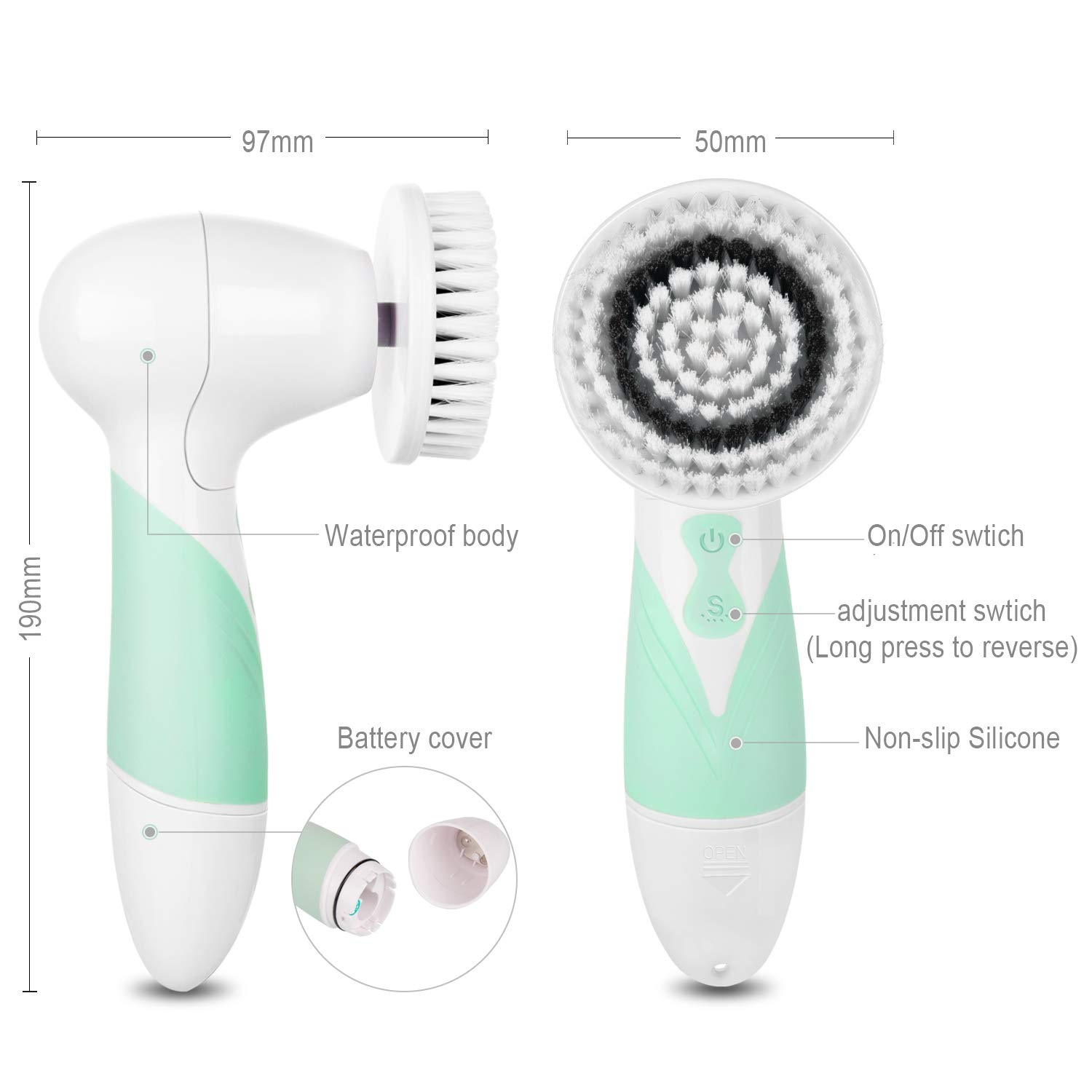 Facial Cleansing Brush - Waterproof Face Scrub Brush with 4 Brush Heads (Green)