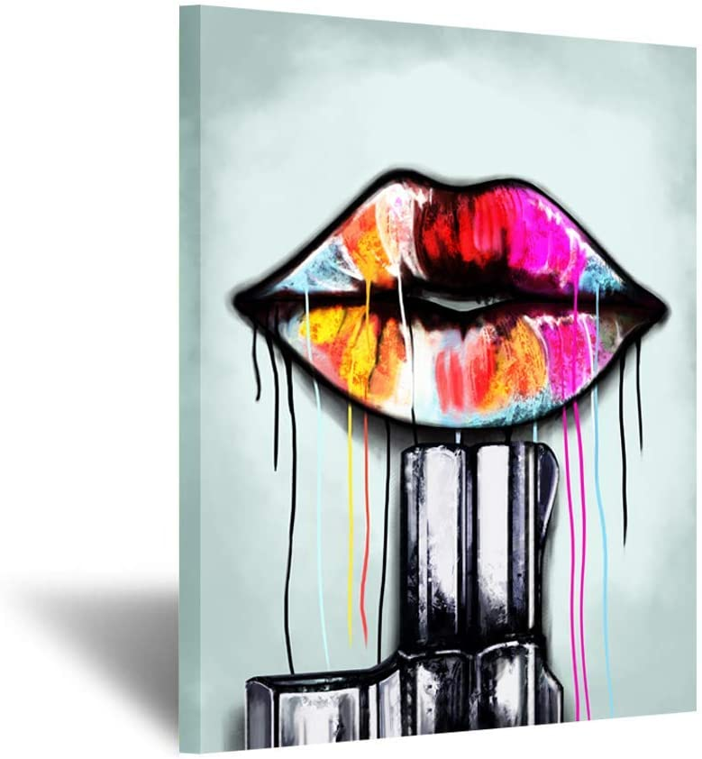 Kreative Arts Sexy Red Lips with The Gun Canvas Paintings HD Wall Art Prints Modern Abstract Poster Home Decor for Living Room Office Bar Creative Gifts Wooden Framed Vertical Ready to Hang 24x32inch