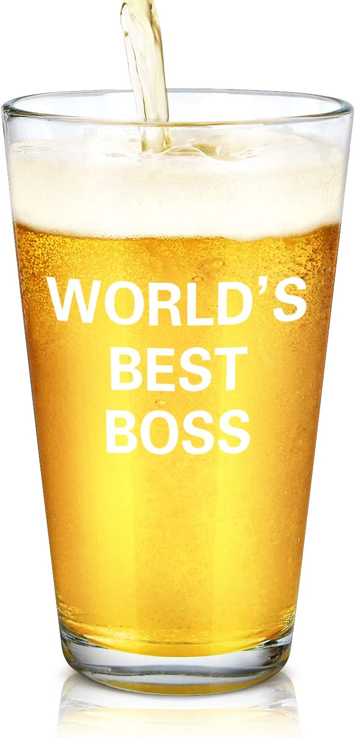 Modwnfy World's Best Boss Beer Pint Glass, 15Oz Funny Boss Beer Glass for Male Female Boss Manger Coworker Friend, Unique Office Gift Idea for Birthday Bosses Day Christmas Farewell Retirement