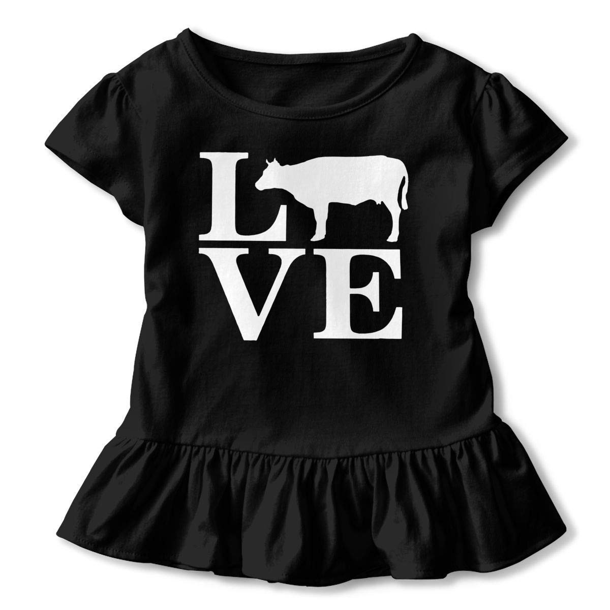 Short Sleeve Love Cows Shirts for Kids Cute Blouse Clothes with Falbala 2-6T