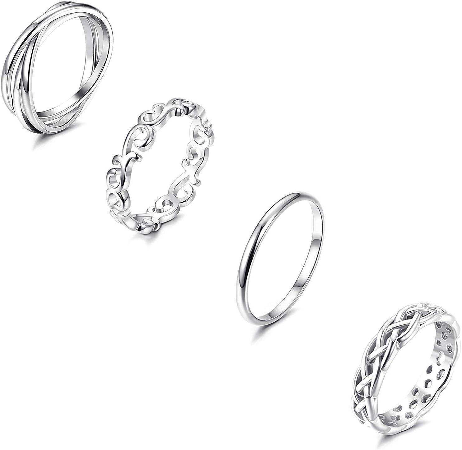 YADOCA 4 Pcs Anneaux en Acier Inoxydable pour Les Femmes Filles Wave Bague Fian/çailles /Éternit/é Knuckle Bague de Aillance Mariage Anniversaire Taille 47-67#