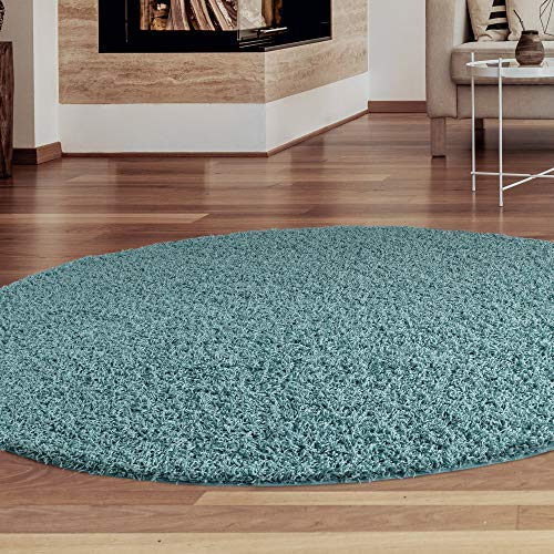 iCustomRug Cozy and Soft Solid Shag Rug 8' Diameter Turquoise/Aqua Blue Round Area Rug Ideal to Enhance Your Living Room and Bedroom Decor