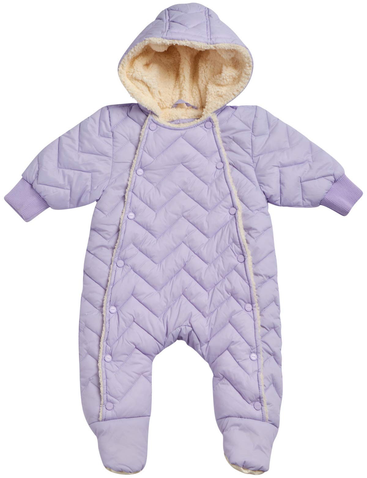Urban Republic Newborn Baby Girls Sherpa Lined Pram Snowsuit, Size 3 Months, Lilac' by Urban Republic