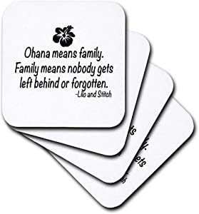 3dRose CST_163985_1 Ohana Means Family. Soft Coasters, Set of 4
