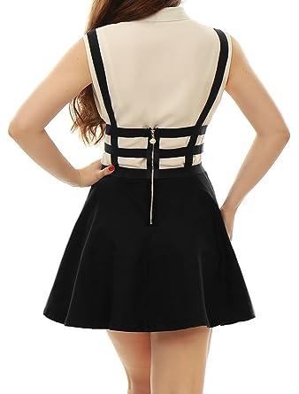 Allegra K Mujer Falda con Tiras de Cintura Elástica Corte A Line: Amazon.es: Ropa y accesorios