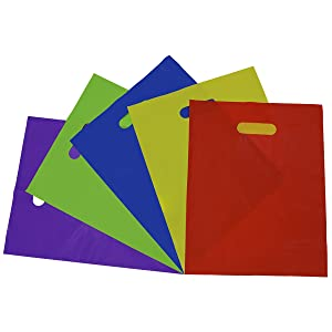Thick Plastic Bags With Handles, Assorted Neon Multi Color Merchandise Bags With Die Cut Handles, 2 Mil Shopping Bags, Party Favor Bags, Gift Bags Bulk 100 Pcs. – 12x15""